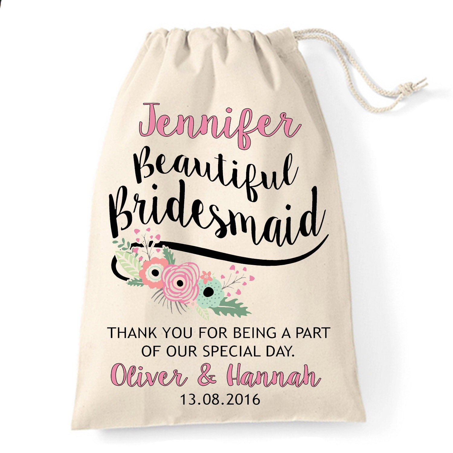 Bridesmaid gift bag Personalised wedding favour cotton gift