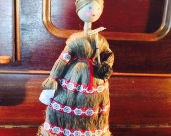 Vintage Wheat Straw Girl Russian Doll