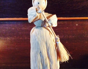Lady with a broom Corn Husk Doll