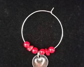 Heart/Coral Wine Charm