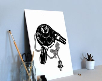 Hair dryer (limited edition A3 screenprint) - 50s vintage style