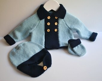 Hand knitted baby boy pram set with cashmere in blue and navy age 0 - 6 mths