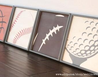 Basketball baseball football golf signs, sports wall art, sports room decor, nursery wall art, sports decor, game room signs, kids teen art