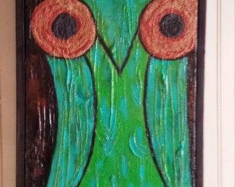 Owl Mixed Media Painting