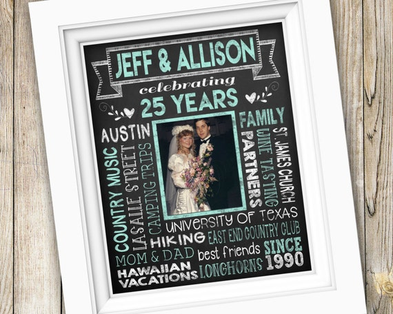 25th Anniversary Wedding Gifts: 25th Anniversary Gift Printable Milestone Anniversary Party