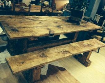 Beautiful Hand Hewn Barn Wood Table