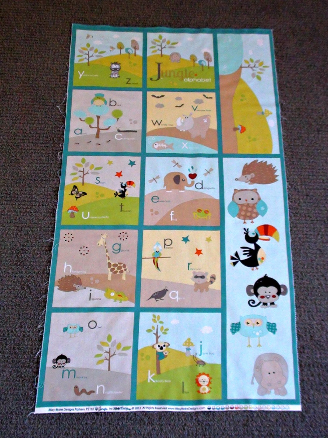 Alphabet fabric panel abc quilting squares jungle animal for Childrens jungle fabric