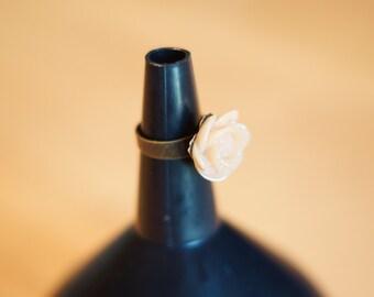 Adjustable Peach Rose Ring