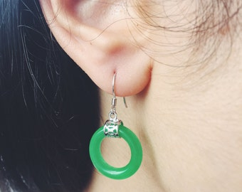 Hollow jade fish hook earrings with silver Chinse character 'Fu' (福) at the top, Chinese jade jewelry, jade-silver fish hook earring