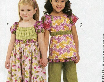 FREE US SHIP McCall's 6062 Girls Bohemian Dress Top Pants Scarf Chelsea Anderson 2010 Size 2 3 4 5