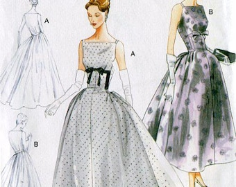 FREE US SHIP Vogue 8874 Retro 1950's Sewing Pattern Pleated Dress 2014 Evening Gown 14/22  (Last size) Reproduction Old Store Stock Uncut