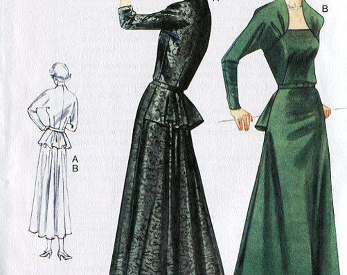 Vogue FREE US SHIP 8768 Vintage Retro 1950's Sewing Pattern Peplum Dress Reproduction Old Store Stock Uncut Size 6/12 12/18