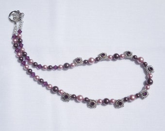Swarovski crystal pearl and amethyst crystal necklace
