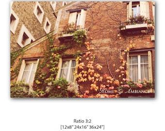 Cosy Paris brick house photo print, Urban Travel photography, House print, Paris decor, Rustic Paris house, Vintage house, Brick wall art,