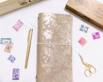 Vegan Fauxdori [Reversible: Beige/Gold Foil] - for midori traveler's notebook