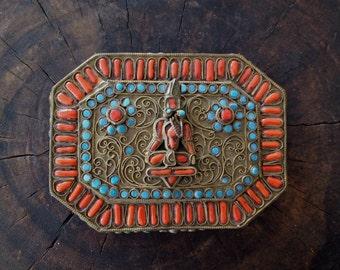 Antique Vintage 1950s Tibetan Turquoise Coral Brass Filigree Trinket Box