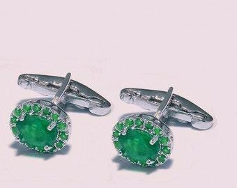 Genuine Natural Emerald Gemstones cufflinks for Men with 925 Sterling Silver