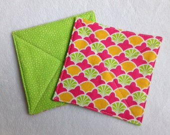 Quilted Fabric Coasters, Set of 4--Mod Print