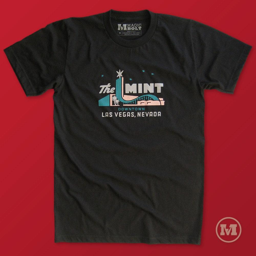 Mint casino las vegas t shirt vintage retro tees for men and for Custom t shirt las vegas