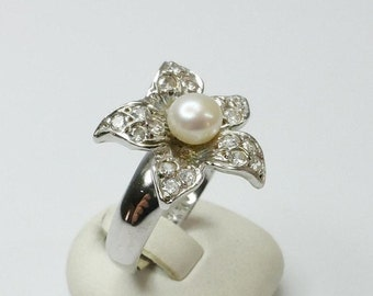 Silver ring flower with Pearl Sterling Ring of pearls Freshwater Pearl Crystal 18.1 silver SR121