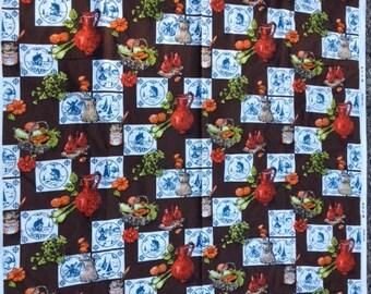 Vintage Dutch Fabric 3.17 Yards x 46 Inches