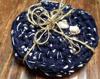 Navy blue coasters - nautical/beach/country/rustic/coastal - home decor ~ gift set