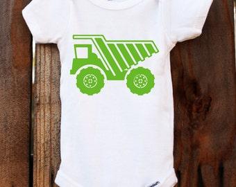 dump truck onesie garbage truck baby customizable colors vinyl