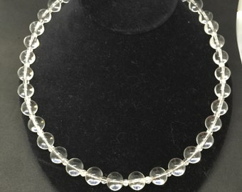 Vintage Clear Crystal Bead Necklace