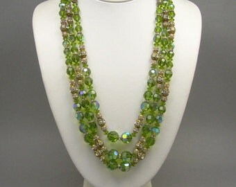 AB Olive Green Crystal Necklace and Beaded Cluster Earring Set