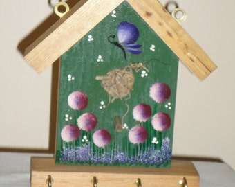 Birdhouse key holder, wood, hand crafted and hand painted