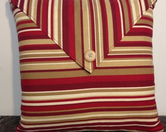 Decorative Pillow Cover Throw Pillow Red Tan Striped Envelope with button detail