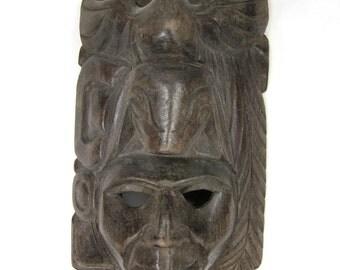 Hand-Carved Belize God Figure Mask