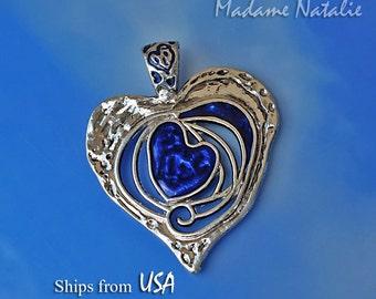 Sapphire Blue Enamel Heart Pendant, Big Heart Pendant, Long Sweater Heart Necklace Pendant, Sapphire and Silver Heart Pendant