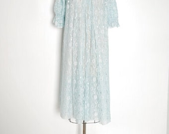 vintage bed jacket, 50s lingerie, lace bed jacket, ice blue lace, 50s clothing, 50s 1950s, sheer lace, 50s nightgown, 50s lace jacket, XS S