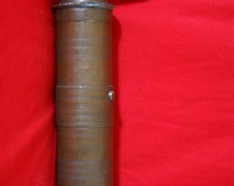 Antique cylindrical brass coffee mill - Early XXth century