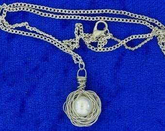 Bird Nest Egg Necklace Imitated Pearl Silver Color