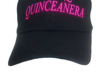 Quinceanera Hat With Pink Letters Black