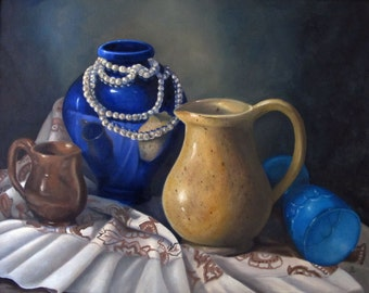 Original Still Life, Blue and Gold Painting, Oil Painting, Original Artwork, Traditional Still Life, 16x20 Framed, Ready To Hang, Artwork