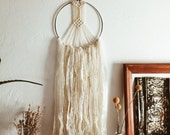 White Dream Catcher Inspired Macrame Wall Hanging