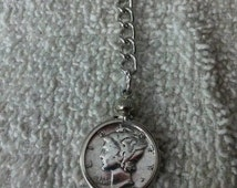 Key Chain handmade from a real silver Mercury Head US dime.Good Gift