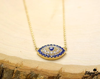 Gold Plated Blue Cubic Zirconia Evil Eye Pendant Necklace