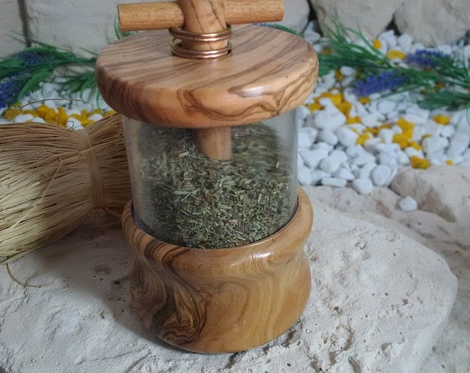 Herb Mill made of olive wood with herbs of the Provence Wood massif unique handmade