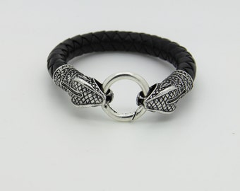 dragon braided leather and steel man bracelet