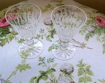 Pair of Waterford Crystal 'Tramore' Liqueur Glasses/Cordial Glasses/ Vintage Glasses/ Stamped Waterford