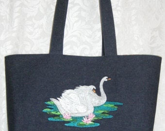 Denim Tote Bag ~ swans