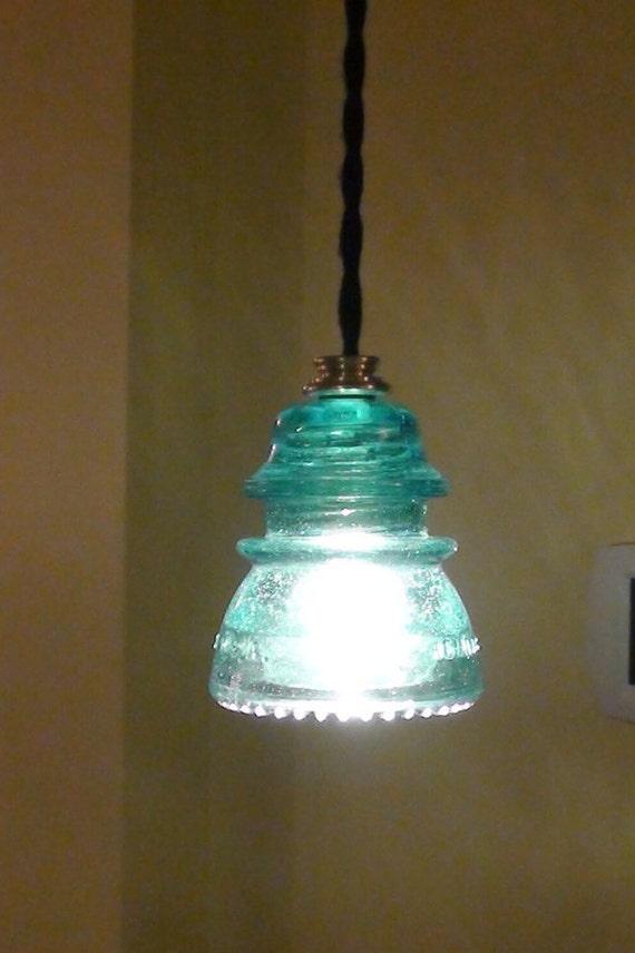 Vintage aqua blue hemmingray 42 insulator pendant light for Antique insulator pendant lights
