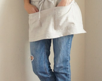 100% Linen cafe Apron/ Pinafore /With 5 Pockets /cooking apron/Eco friendly gift/ Adjustable ties on waist/Half Apron