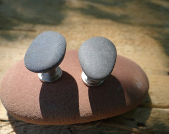 Pair of Maine Beach Stone Knobs or Drawer Pulls