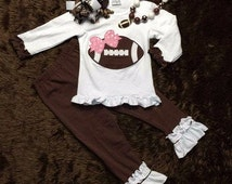 Toddler Girl Appliqued Football Mock Turtleneck Top Pant Ruffled Boutique Outfit Set Fall Sports Photo Shoot Pageant Back to School