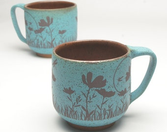 Large Turquoise Poppy Flower Coffee Mug